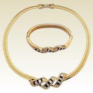 Vintage Swarovski SAL Red & White Crystal Rhinestone Necklace Bracelet Set