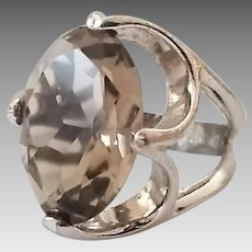 Vintage Sterling Silver Uncas Smokey Quartz Ladies Ring Size 5 3/4