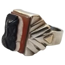 Vintage Sterling Silver Double Warrior Cameo Men's Ring Size 12