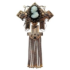 Antique Victorian Gold Hardstone Cameo Taille d'Epargne Black Enamel Tassel Pin Brooch