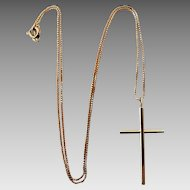 Vintage 14k Gold High Polish Cross On Box Chain Necklace