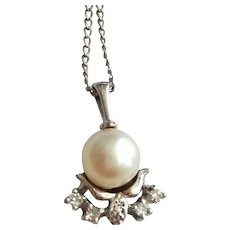 Vintage 14k White Gold Diamond Cultured Pearl Pendant Necklace