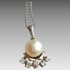 Vintage 14k White Gold Diamond Cultured Pearl Pendant Necklace