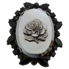 Vintage Juliana D&E Black Rhinestone Pressed Metallic Glass Rose Pin Brooch