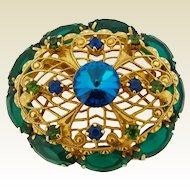 Vintage Juliana Green & Blue Filigree Rivoli Rhinestone Brooch Pin
