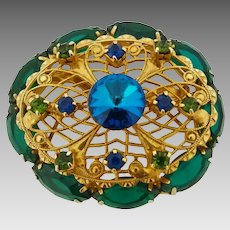 Vintage Juliana Green & Blue Filigree Rivoli Rhinestone Brooch Pin