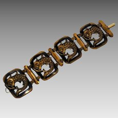 Vintage Germany US Zone Big Bold Retro Fish Motif Link Bracelet