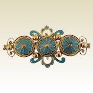 Vintage Rare Large Signed Leo Glass Big Enamel Victorian Revival Pin Brooch