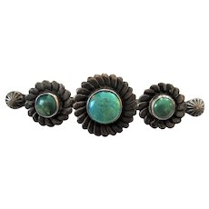 Vintage Large Sterling Silver Turquoise Brooch Pin
