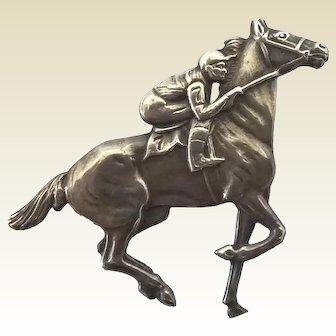 Vintage Sterling Silver Racing Horse Lucky Number 7 Jockey Pin Brooch