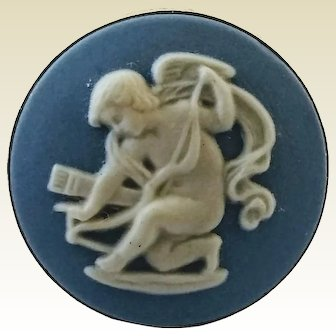 Vintage Sterling Silver Wedgwood Jasperware Cupid Ring Size 5 1/2