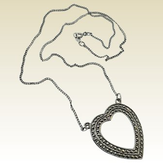 Vintage 1950's Rhodium Plated Sterling Silver Marcasite Heart Pendant Necklace