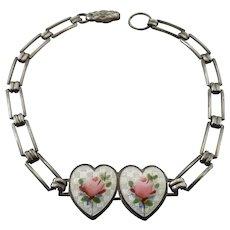 Vintage Sterling Silver Guilloche Enamel Double Heart Roses Bracelet