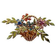 Vintage Warner Goldtone Enamel Rhinestone Flower Basket Pin Brooch