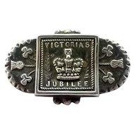 Antique Sterling Silver Victorian Queen Victoria's 1897 Diamond Jubilee Pin Brooch