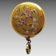 Vintage Ketcham McDougall Engraved Rose Gold Plated Floral Retractable Pin Brooch