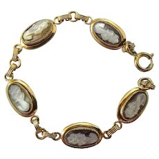 Vintage Gold Filled Carved Abalone Shell Cameo Bracelet