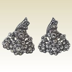 Vintage Coro Sterling Silver Marcasite Floral Dress Clips Set