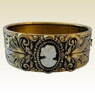 Vintage Victorian Revival Style Cameo Antiqued Goldtone Embossed Bangle Bracelet