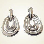 Vintage Vendome Big Silvertone Elongated Door Knocker Clip Earrings