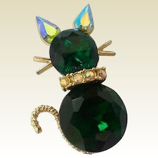 Vintage Dodds Emerald Green Glass Rhinestone Cat Pin Brooch