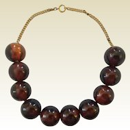 Vintage Large 22 mm Tortoise Swirl Brown Bakelite Bead Necklace