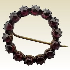 Vintage Victorian Era Rose Cut Faux Garnet Glass Circle Pin