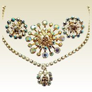 Vintage Shriners Masonic Aurora Borealis Rhinestone Pin Earrings Necklace Set