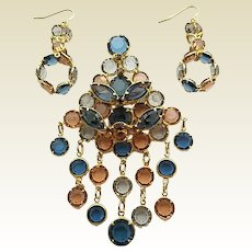 Vintage Large Bezel Set Rhinestone Dangle Brooch Pin Earrings Set