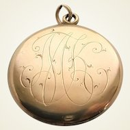 Antique Victorian Gold Filled Locket With Original Lovely Ladies Photographs