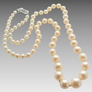 Vintage Cultured Pearl Graduated Size 14k Filigree Clasp Necklace