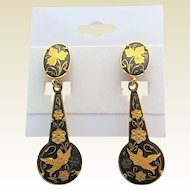 Vintage Spanish Damasene Bird Floral Dangle Earrings Pierced