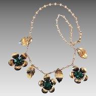 Vintage 1940's Gold Washed Sterling Silver Flower Dangle Fringe Green Glass Stone Necklace