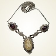 Vintage Filigree Full Figure Dancing Muse Shell Cameo Amethyst Glass Necklace