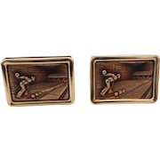 Vintage Krementz Gold Filled Bowling Alley Man Cufflinks