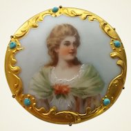 Antique Victorian Hand Painted On Porcelain Lady Maiden Portrait Pin Brooch