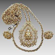 Vintage Crown Trifari Goldtone Textured Swirls Pendant Necklace Clip Earrings Set