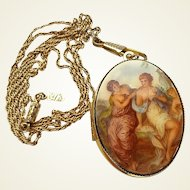 Vintage 1928 Double Sided Transfer Printed Maidens Locket Necklace