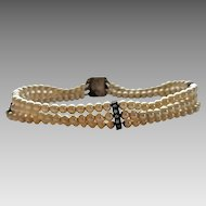 Vintage Art Deco Faux Pearl Sterling Silver Paste Rhinestone Bars Unusual Snap Clasp Bracelet