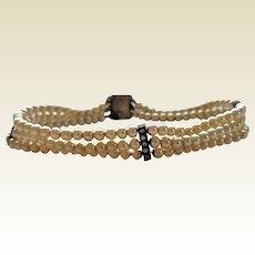 Vintage Art Deco Faux Pearl Sterling Silver Paste Rhinestone Bars Unusual Snap Clasp Bracelet
