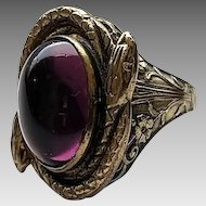 Vintage Aged Brass Amethyst Glass Cabochon Ring Size 5