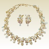 Vintage Coro Aurora Borealis Rhinestone Crystal Dangles Necklace Clip Earrings Set