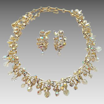 Vintage Coro Aurora Borealis Rhinestone Crystal Dangles Necklace Clip Earrings Set