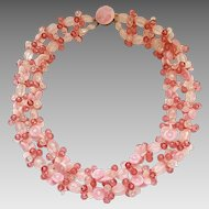 Vintage West Germany Cotton Candy Pink Lucite Flowers Bead Necklace