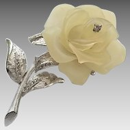 Vintage Hattie Carnegie Frosted Lucite Rose Rhinestone Pin Brooch