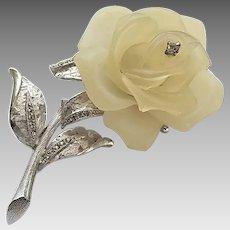 Vintage Hattie Carnegie Frosted Lucite Rose Rhinestone Pin Brooch
