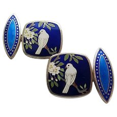 Vintage Sterling Silver Japanese Meiji Cloisonne Enamel Dove Bird Flower Cufflinks