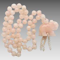 Vintage Rose Quartz Bead Carved Elephant Beaded Necklace
