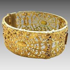 Vintage Napier Gilt Brass Filigree Bangle Bracelet