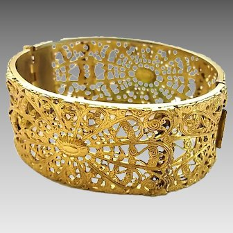 Vintage Napier Gilt Brass Filigree Bangle Bracelet